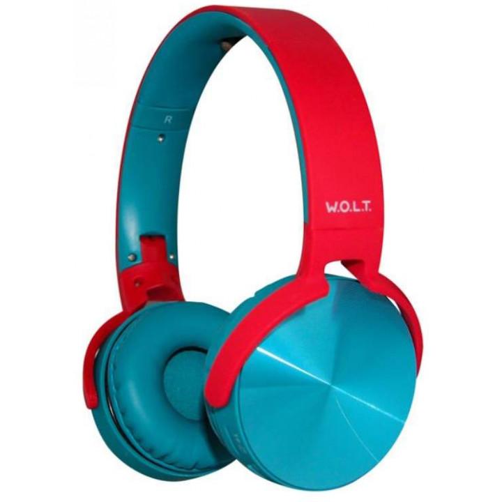 Беспроводные наушники W.O.L.T. QUB STN-250 Red/Blue